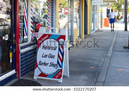Ft. Lauderdale, Florida - December 24, 2017: Historic Las Olas Barber shop on Las Olas Boulevard in Ft. Lauderdale