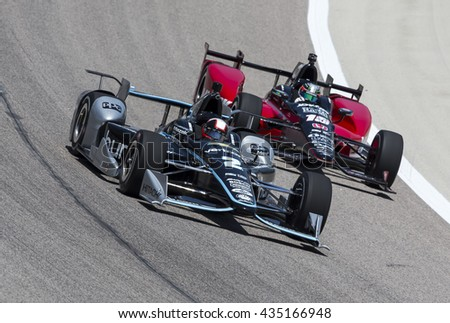 Ft Worth, TX - Jun 10, 2016:  Juan Pablo Montoya (2) brings his car through the turns during a practice session for the Firestone 600 at Texas Motor Speedway in Ft Worth, TX.