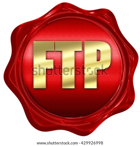 ftp, 3D rendering, a red wax seal - stock photo