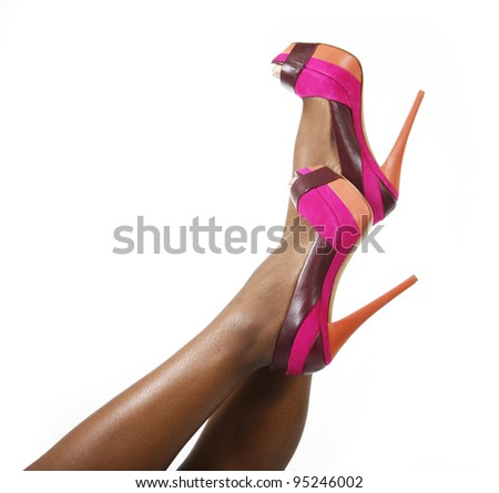 fuchsia shoes on sexy legs - stock photo
