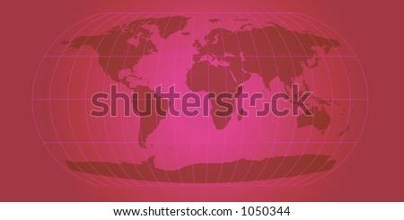 fuchsia world map with retro feel - stock photo