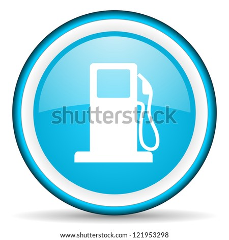 fuel blue glossy icon on white background - stock photo