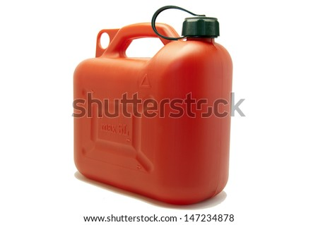 Fuel canister isolated on white - stock photo