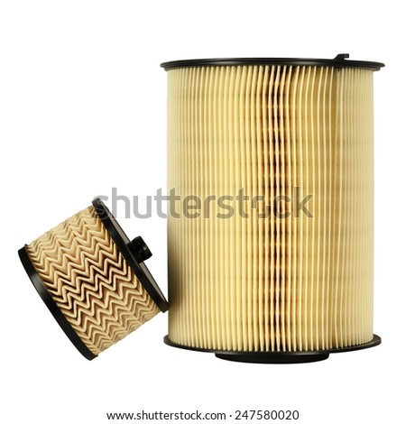 Fuel filter and air filter, designed to ensure proper use and operation of car engine - stock photo