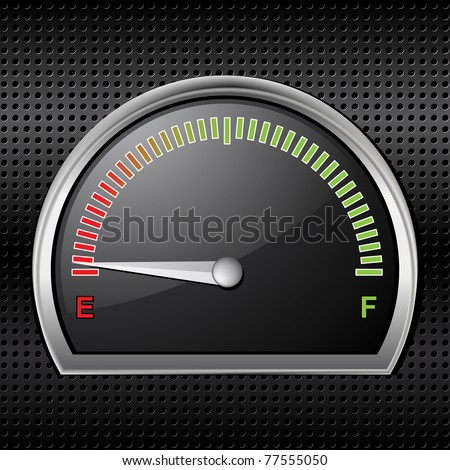Fuel gage with needle pointing to empty on a black metallic background