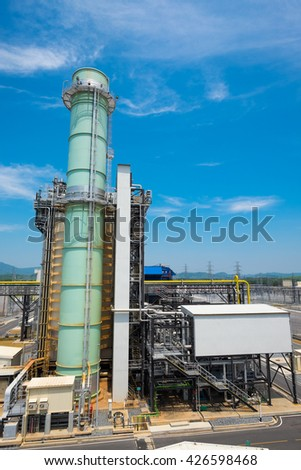 Fuel gas power plant with clear sky