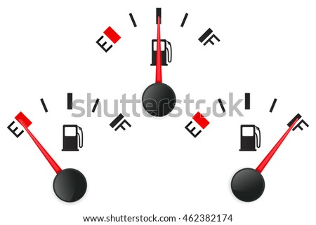 Fuel gauge. Empty and full. Illustration isolated on white background. Raster version