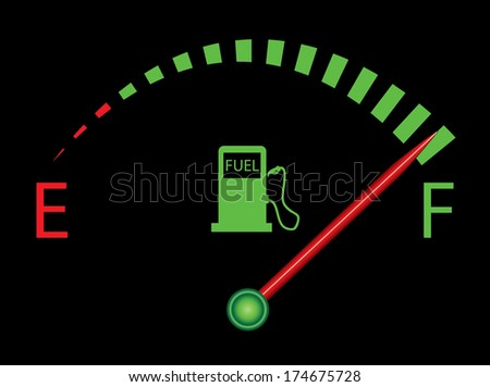 Fuel gauge indicating nearly full, more variations available in my portfolio.  - stock photo
