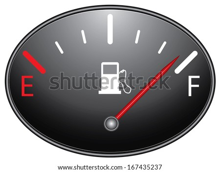 Fuel gauge nearly full with red indicator. Isolated easy to edit design on black background.