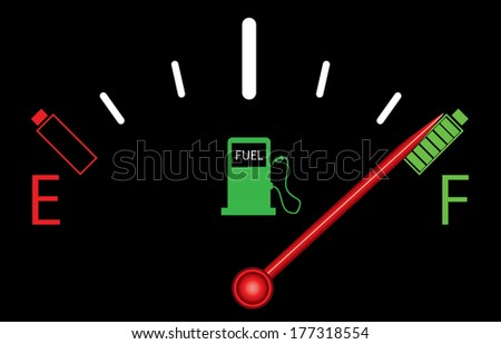 Fuel gauge on black with batteries. - stock photo