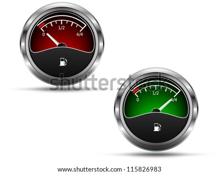 Fuel gauges, empty and full position needle, isolated on white background, raster copy