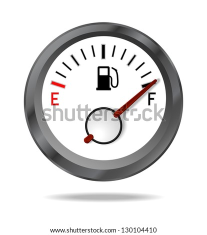 Fuel indicator shows full fuel level, JPEG version - stock photo
