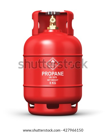 Fuel industry manufacturing business concept: 3D render of red metal liquefied compressed natural propane gas LNG or LPG container or cylinder with high pressure valve isolated on white background