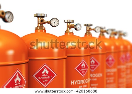Fuel industry manufacturing concept: 3D illustration of the group of orange metal steel liquefied compressed natural hydrogen gas containers or cylinders with high pressure gauge meters and valves