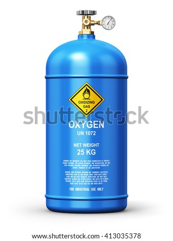 Fuel industry manufacturing concept: 3D render illustration of blue liquefied compressed natural oxygen gas container or cylinder for welding with high pressure gauge meter and valve isolated on white - stock photo