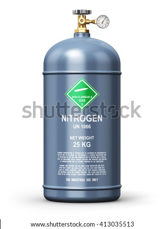 Fuel industry manufacturing concept: 3D render illustration of gray metal liquefied compressed natural nitrogen gas container or cylinder with high pressure gauge meter and valve isolated on white