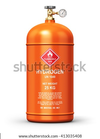 Fuel industry manufacturing concept: 3D render illustration of orange metal liquefied compressed natural hydrogen gas container or cylinder with high pressure gauge meter and valve isolated on white