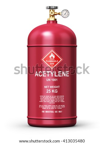 Fuel industry manufacturing concept: 3D render illustration of red liquefied compressed acetylene gas container or cylinder with high pressure gauge meter and valve for welding isolated on white