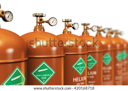 Fuel industry manufacturing concept: 3D render illustration of the group of brown metal steel liquefied compressed natural helium gas containers or cylinders with high pressure gauge meters and valves