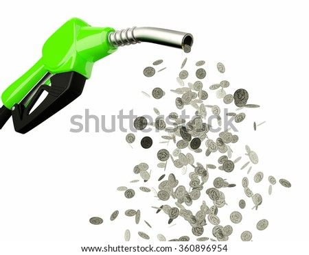 Fuel nozzle pouring Dollar coins isolated on white background - stock photo