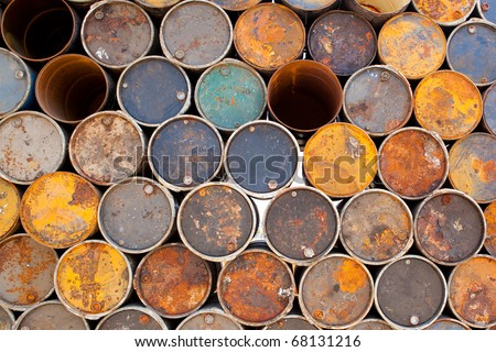 fuel old tank that lay altogether keep to is a drum , - stock photo