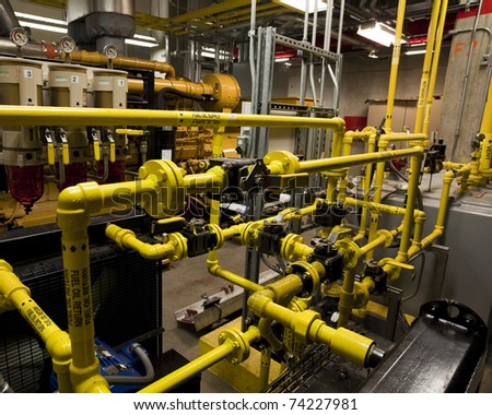 Fuel piping train for a large diesel engine. - stock photo