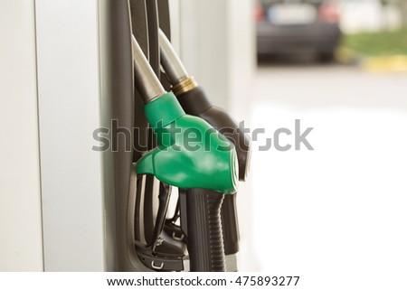 Fuel pump with gasoline and diesel with green and black handles