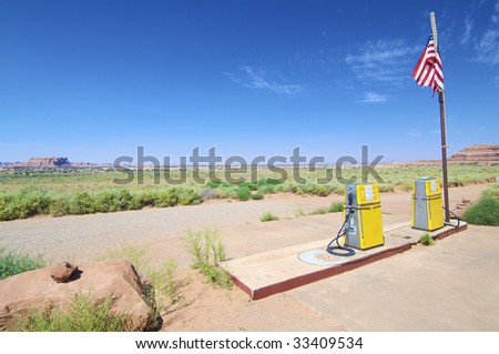 fuel station abandoned in Canyon lands - stock photo