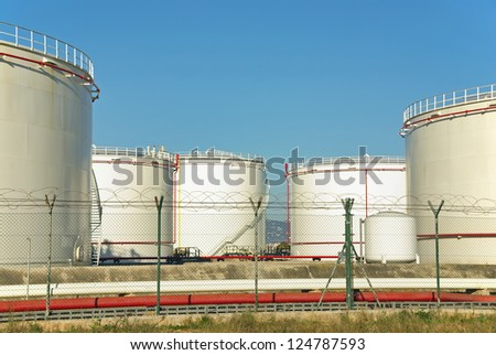 Fuel Storage plant with big tanks used to store oil