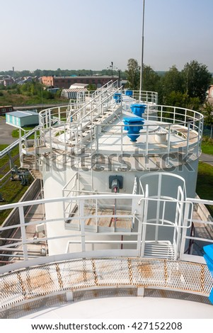 Fuel store tanks of refueling complex in the airport - stock photo