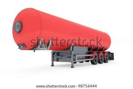 Fuel Tanker isolated on white with clipping path - stock photo