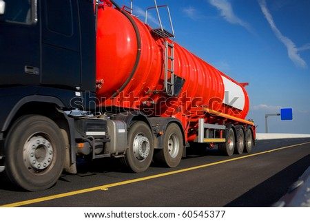 Fuel Truck in motion On The Highway, detail - stock photo