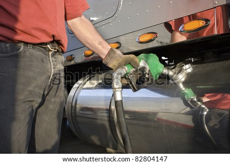 Fueling Up a Freight Transport Truck