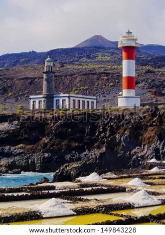 Fuencaliente Lighthouse on the island La Palma, Canary Islands, Spain - stock photo