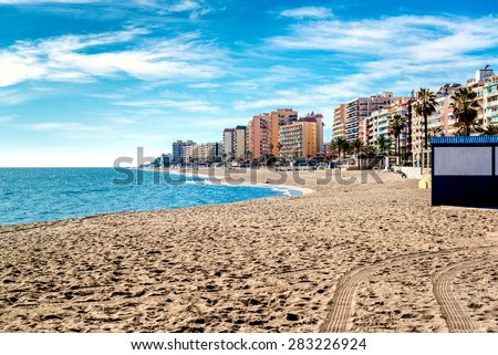 Fuengirola beach. Costa del Sol. Malaga, Andalusia. Spain - stock photo