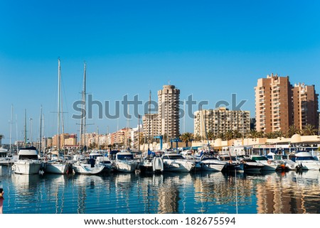 FUENGIROLA, SPAIN - MARCH 15: several recreational craft, docked in the port,  On march 15, 2014 in Fuengirola, Malaga,  Spain
