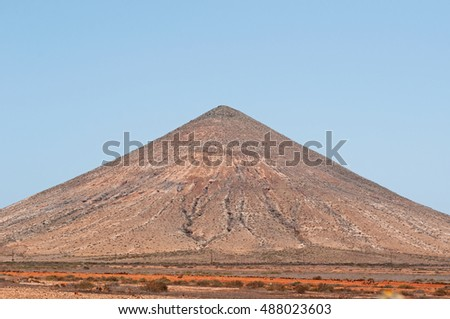 Fuerteventura: a cone volcano in the Malpas de la Arena on September 2, 2016. The Malpas de la Arena is a volcanic area of 900 hectares near the village of La Oliva