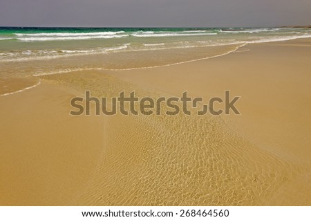 Fuerteventura, Flag Beach, part f Grandes Playas de Corralejo on the north of the island - stock photo