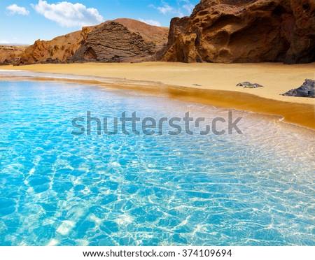 Fuerteventura La Pared beach at Canary Islands Pajara of Spain - stock photo
