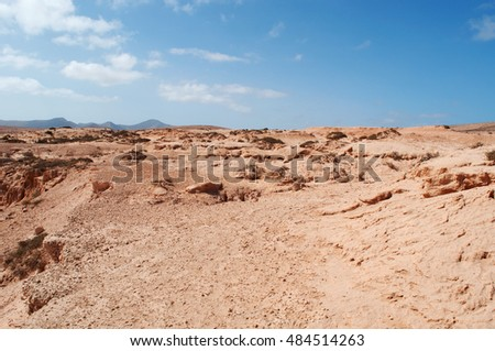 Fuerteventura: landscape of the Barranco de los Encantados on September 5, 2016. Barranco de los Encantados, also called Barranco de los Enamorados, is a little canyon in the northwest of the island