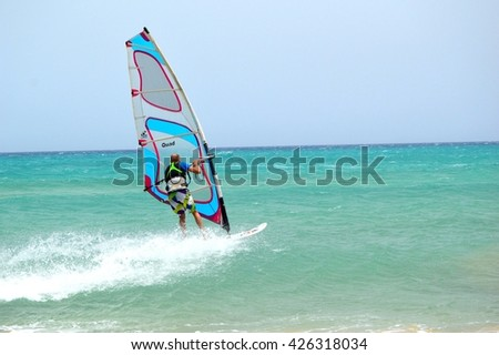 FUERTEVENTURA, SPAIN - JUNE 22, 2016: Sotavento Beach in Fuerteventura, Canary Islands, Spain. The Windsurfing and Kiteboarding World Cup is held every year in this beach