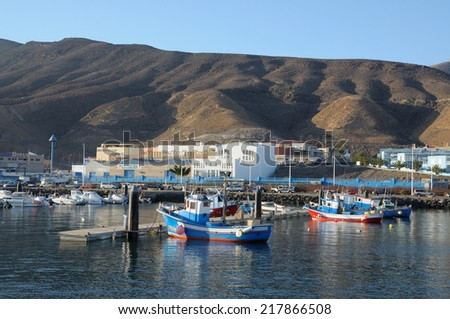 FUERTEVENTURA, SPAIN - MAY 30: Marina in Morro Jable, southern tip of the canary island Fuerteventura. May 30, 2009 on Canary Island Fuerteventura, Province Las Palmas, Spain