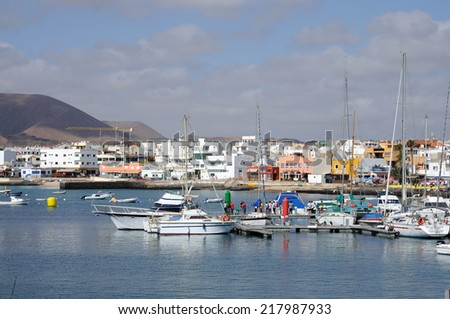 FUERTEVENTURA, SPAIN - MAY 29: Yachts and boats in the marina of Corralejo. May 29, 2009 on Canary Island Fuerteventura, Province Las Palmas, Spain