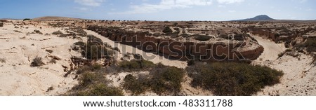 Fuerteventura: the Barranco de los Encantados on September 5, 2016. Barranco de los Encantados, also called Barranco de los Enamorados, is a little canyon in the north of the island near Lajares