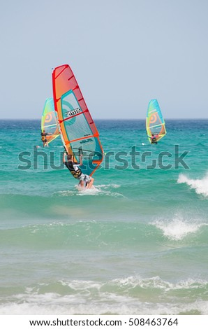 Fuerteventura: 30/08/2016 windsurfs at Sotavento, one of the most famous beaches of Costa Calma, the southeastern coast, known as the surfer's paradise for its strong winds
