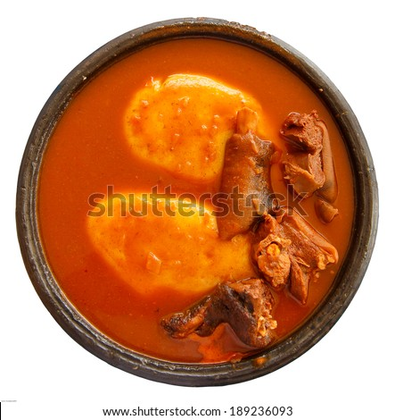Fufu, foofoo, foufou, fufuo one of the most popular food of native Ghanaian