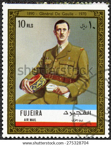 FUJAIRAH - CIRCA 1972: A stamp printed in Fujairah shows Charles de Gaulle  (1890-1970), circa 1972 - stock photo