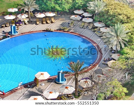 FUJAIRAH, UAE - November 2,2008: Luxurious 5-star hotel Le Meridien Al Aqah Beach Resort. This famous hotel boasts the largest free-form swimming pool.