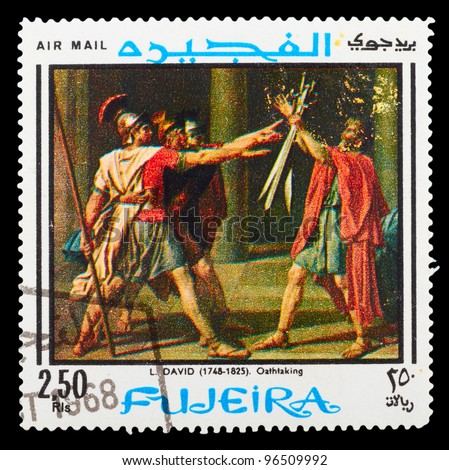 "FUJEIRA - CIRCA 1965: A stamp printed by Fujeira, shows the painting ""Oathtaking"", circa 1965"