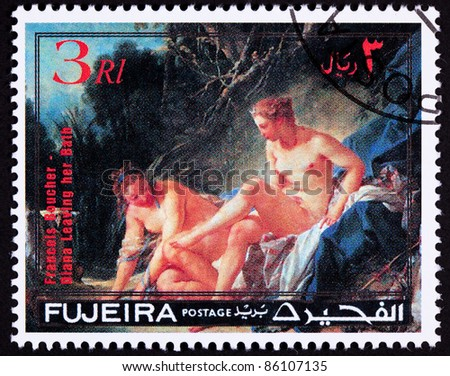 FUJERIA - CIRCA 1972:  A stamp printed in Fujeria shows Diana Leaving her Bath by Francois Boucher.  Diana was goddess of the hunt, circa 1972. - stock photo